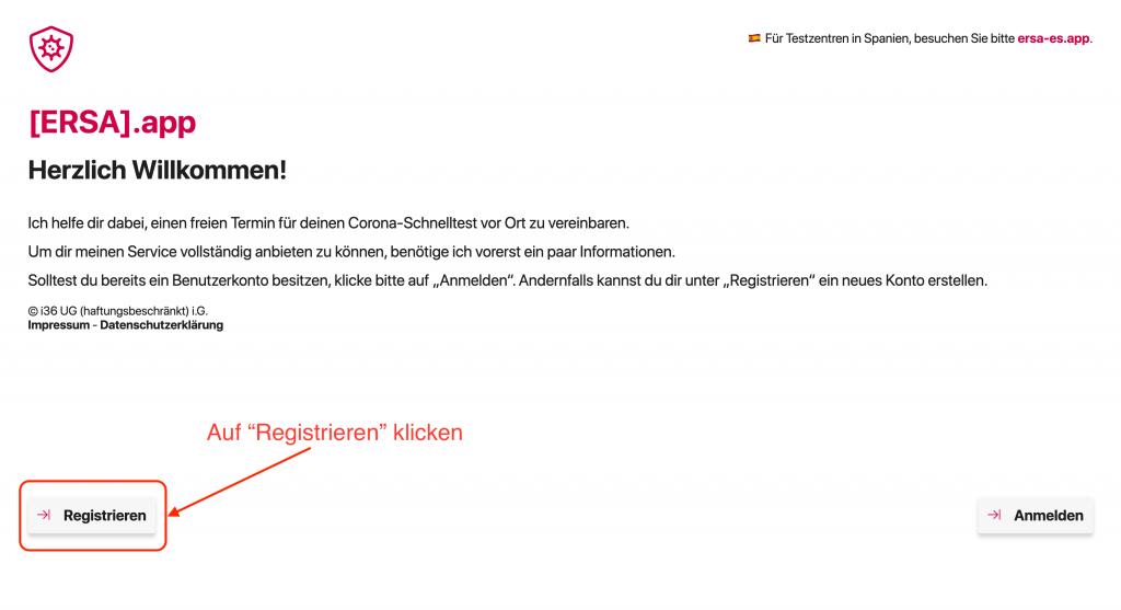 ersa registrierung 01 willkommensbildschirm